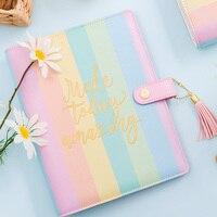 Lovedoki 2019 cuaderno espiral arcoíris color caramelo coreano Planner agenda organizadora agenda lindo diario estacionario suministros de regalo