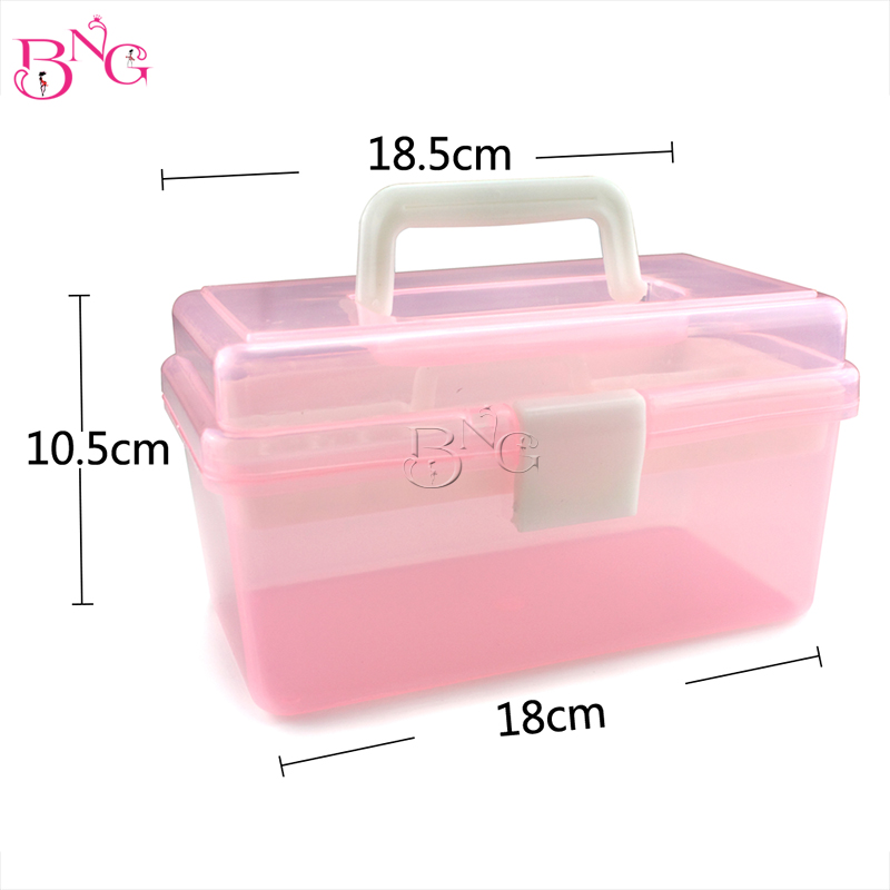 18*10.5*18.5cm Multicolor Double Layer Strong Box Multi-Function Plastic Case Tools Nail Art Beauty Manicure Accessory