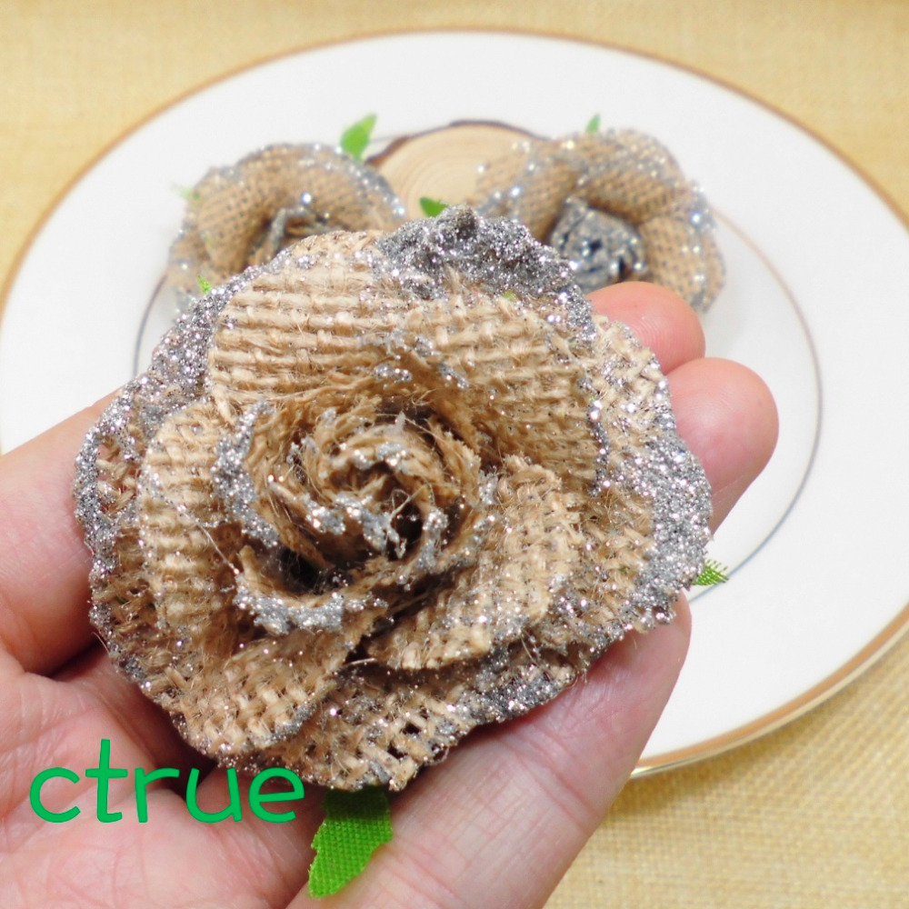 48pc jute burlap hessian flower rose with bling bling rustic wedding 48pc jute burlap hessian flower rose with bling bling rustic wedding centerpieces souvenirs baby shower diy craft supplies in party diy decorations from junglespirit Image collections