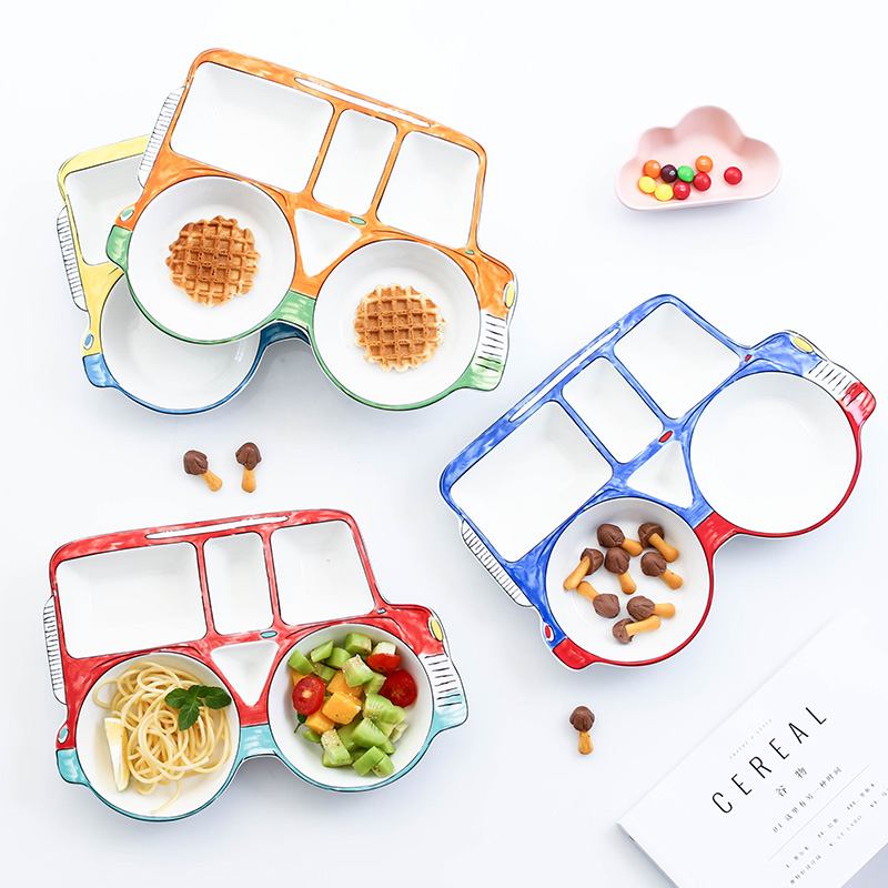 Creative Cartoon Food Truck Ceramic Plate Dish Childrens Porcelain Tableware Food Container Dinner SetCreative Cartoon Food Truck Ceramic Plate Dish Childrens Porcelain Tableware Food Container Dinner Set