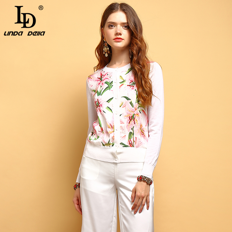 LD LINDA DELLA New 2019 Fashion Summer Tops Women s Long Sleeve Beading Floral Printed Elegant