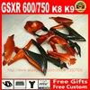 Fairings Set For Suzuki GSXR600 GSXR750 08 09 10 Brown Black Fairing Kit K8 GSXR 600
