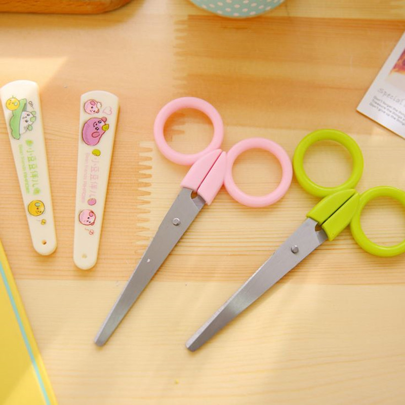 Coloffice 1PC Colorful Cartoon Scissors Cutting Paper Tools For Kid Safe Multipurpose Household Student Office School Supplies