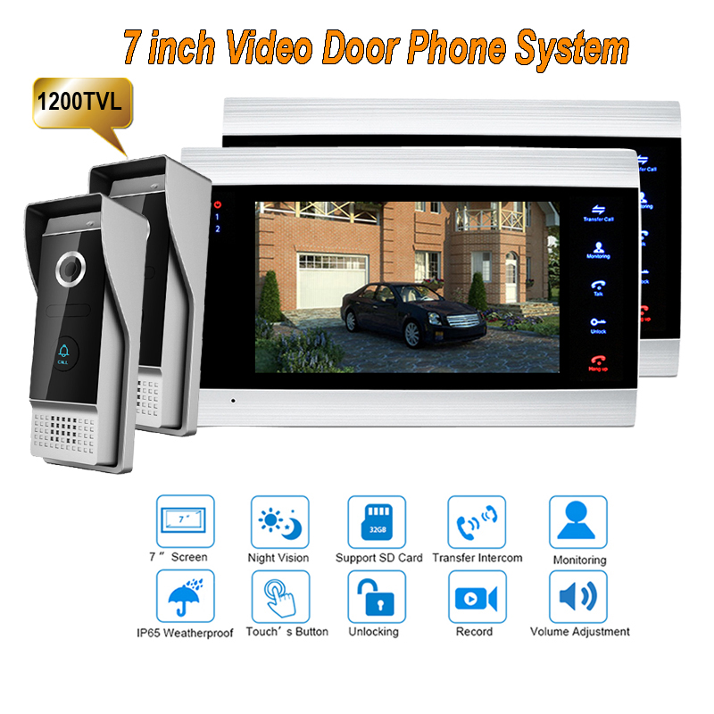 New 7 inch 1200TVL Video Intercom System Door Phone Doorbell With  IP65 wide Angle 110 degree Camera DoorPhone 2v2 door intercom video cam doorbell door bell with 4 inch tft color monitor 1200tvl camera
