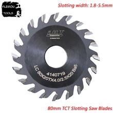 80mm TCT Oluklu Testere Bıçakları 80x20mm TCT Kanal Açma Testere Bıçakları 20 Diş Freze ahşap için kesici, kalınlığı 1.8 ila 5.5mm, Çap: 20mm