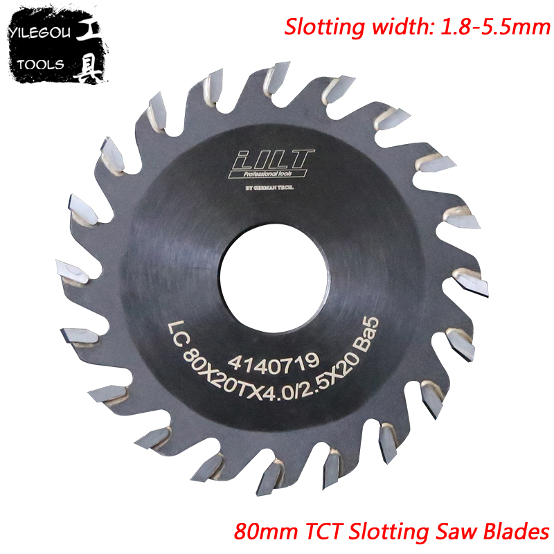 80mm TCT Slotted Saw Blades 80x20mm TCT Grooving Saw Blades 20 Teeth Milling Cutter For Wood, Thickness 1.8 To 5.5mm, Bore: 20mm