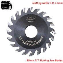 Cuchillas de sierra ranurada TCT de 80mm 80x20mm cuchillas de sierra de ranurado TCT fresa de 20 dientes para madera, grosor de 1,8 a 5,5mm, diámetro interior: 20mm