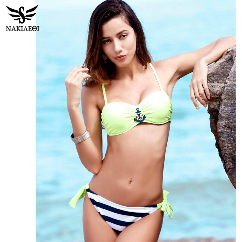 NAKIAEOI 2018 New Sexy Bandeau Brazilian Bikini Women Swimsuit Push Up Swimwear female Bikini Set Plaid Bathing Suit Biquini 1