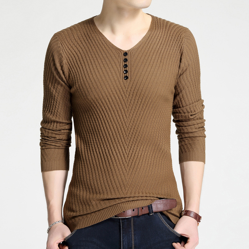 Sweater Pullover Men 2018 Male Brand Casual Slim Sweaters Men Fashion Solid Color High Quality Hedging V-Neck MenS Sweater 4XL