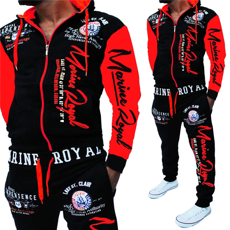 ZOGAA Men's Fashion Two Piece Set Men Casual Tracksuits Sportswear Hooded Sweatshirt And Pants Set Letter Printed Tracksuit