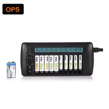 9V 1.2V  LCD 10 Slots Smart Intelligent Battery Charger for AA / AAA NiCd   NiMh Rechargeable Batteries EU and US Plug