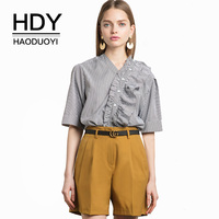 HDY Haoduoyi Women Blouses Striped Button Ruffles Strap Shirts V Ncek Half Sleeve Casual Soft Tops