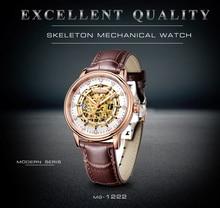 2018 Real Tourbillon skeleton terwijl Memachical Mans horloge bruin lederen Saphire wijzerplaat Waterproof Japan Automatic Man horloges
