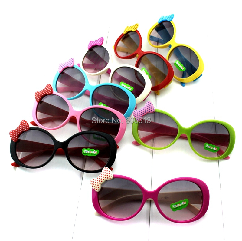 2015 New Children Plastic Frame Sunglasses Cute Baby Boys Girls Kid Sunglasses Child Cat Eye Shades Goggles Bow Eyewear 6Pcs/Lot