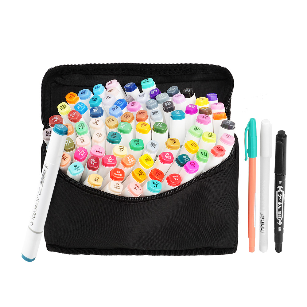 TOUCHNEW Alcohol Graphic Art Markers Board / Fine Dual Tip Drawing Marker Pen 80 Colors Set + Pencil Bag and Gift mother nest newly 2016 long sleeve baby clothing baby boy girl wear pink polka dot newborn baby overall clothes baby rompers