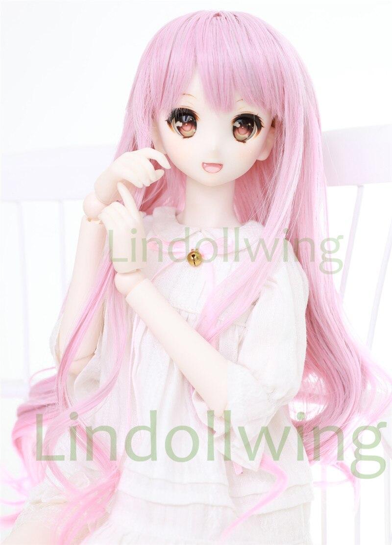 1 3 BJD 8-9 Dal Pullip SD DZ DOD LUTS Dollfie Doll wigs long pink MIX white wig