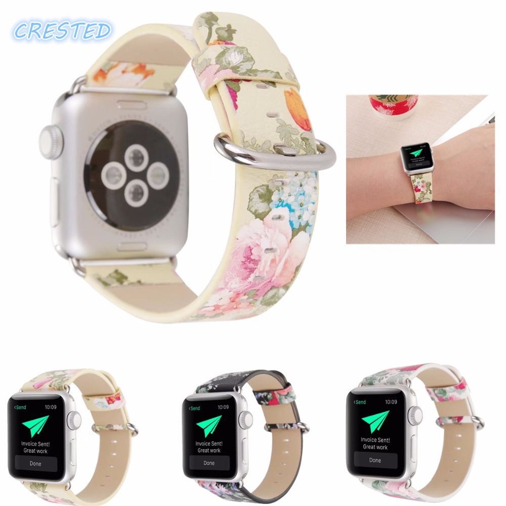 купить CRESTED Leather Watch Band Strap for Apple Watch band 42mm/38 Floral Printed Flower Design Wrist Watch Bracelet for iwatch  1 2 по цене 628.36 рублей