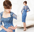 2016 Elegant Lace A-line Mother Evening Dress with Jacket Sweetheart Short Blue Mother of the Bride Lace Dresses
