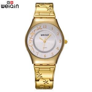 Image 2 - מותג נשים אופנה זהב יוקרה שמלת נירוסטה צמיד קוורץ שעון גבירותיי Ultra Slim 6mm פשוט יהלום אלגנטי שעה
