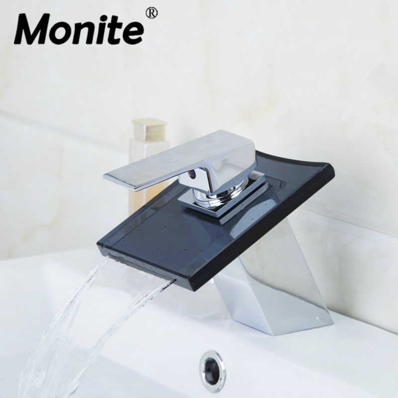Waterfall Black Glass Chrome Brass Deck Mounted Single Handle Bathroom Wash Basin Sink Vessel Vanity Faucet,Mixer Tap купить
