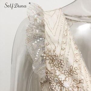Image 5 - Vestido de verano 2019 para mujer de Self Duna, Mini vestido de fiesta bodycon sensual de Espalda descubierta, Vestido corto con volantes de malla de lentejuelas doradas