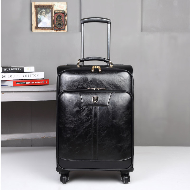 BeaSumore Fashion Business Man Leather Rolling Luggage spinner Travel bag Trolley  Trunk Women Retro Suitcase 16/20/24inch