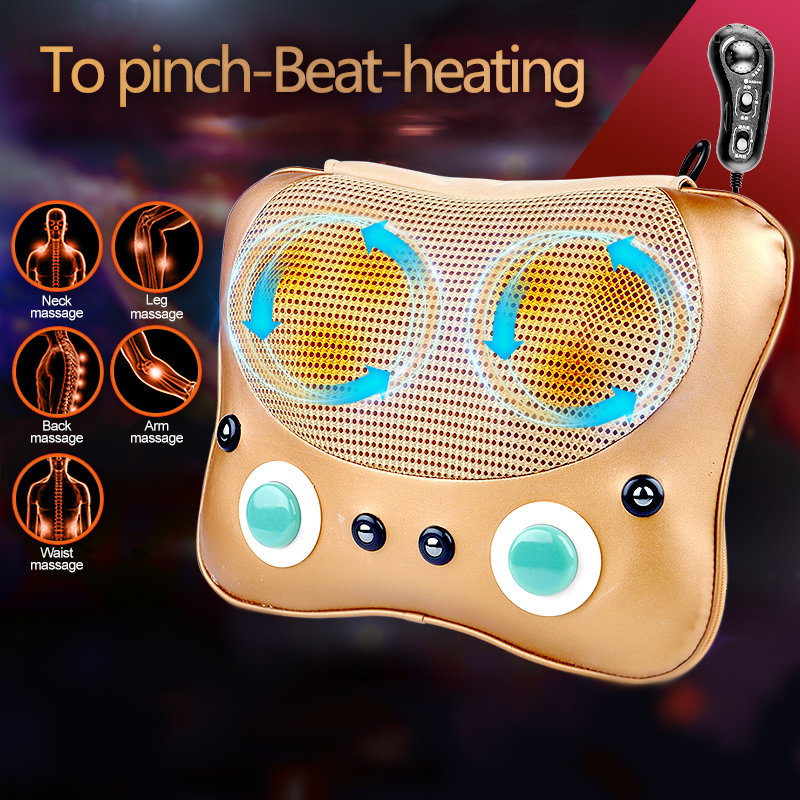 SUNWTR Electric Infrared 3D Heating Kneading Massage Pillow Multifunction Shiatsu Neck Back Car Home Dual-use Massage Pillow bolikim electric infrared heating kneading neck shoulder back body spa massage car pillow car chair shiatsu massager machine
