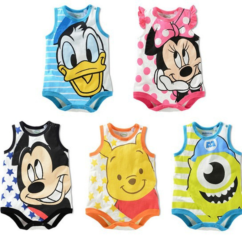 2017 New Summer Cute Cartoon Print Sleeveless Baby Boys Girls Rompers One-piece Unisex Jumpsuit Infant Toddlers Clothes Overalls 2017 new fashion cute rompers toddlers unisex baby clothes newborn baby overalls ropa bebes pajamas kids toddler clothes sr133
