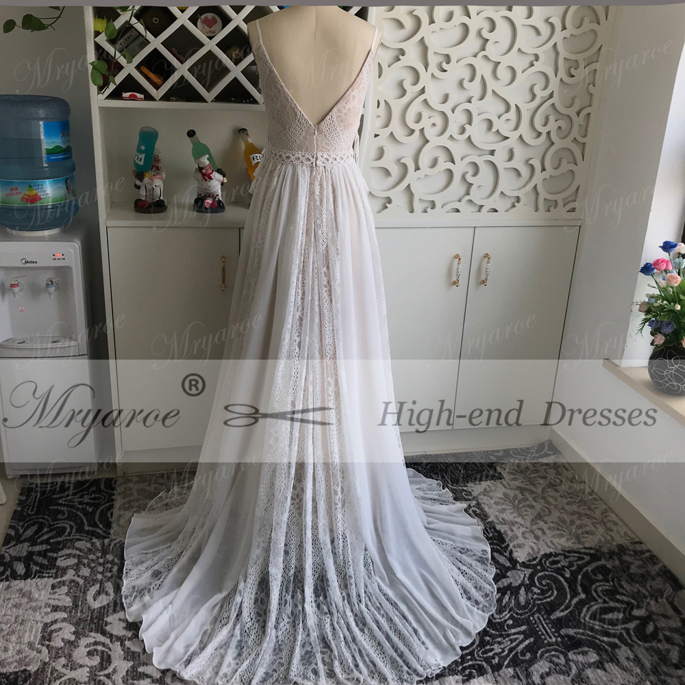 Image 3 - Mryarce 2019 Boho Chic Wedding Dresses Spaghetti Straps Twist Lace Chiffon A Line Open Back Bohemian Dress Bridal Gown-in Wedding Dresses from Weddings & Events