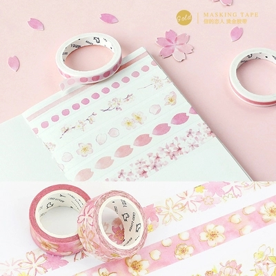 Pink Sakura Golding Washi Tape DIY Scrapbooking Sticker Label Masking Tape School Office Supply Gift Stationery