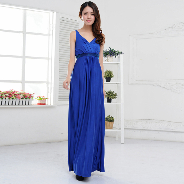 Royal Blue V Neck Long Dinner Dress Formal Party Ball Gowns Holiday Maxi