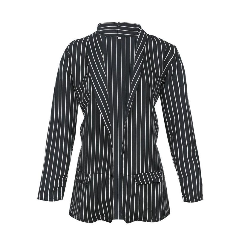 Fashion Autumn Casual Coat Slim Fit Women Formal Jackets Office Work Open Front Notched Striped Ladies Coat