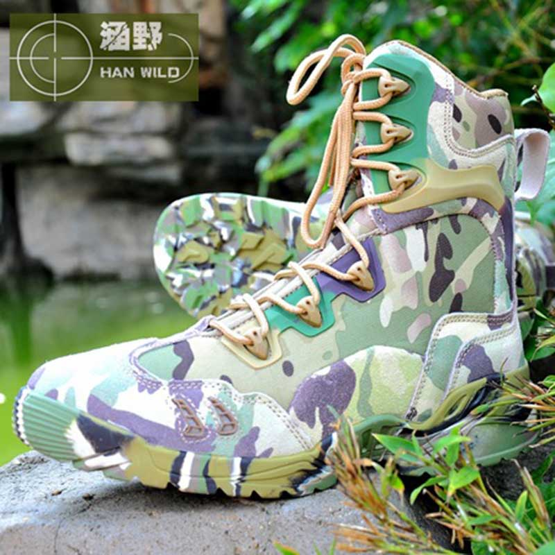 Tactical Shoes Military Combat Leather Shoes Men Outdoor Breathable High Top Boots Hunting Camping Hiking Shoes