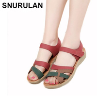 SNURULAN Mother sandals soft leather large size flat sandals summer casual comfortable non slip in the elderly women 's shoes