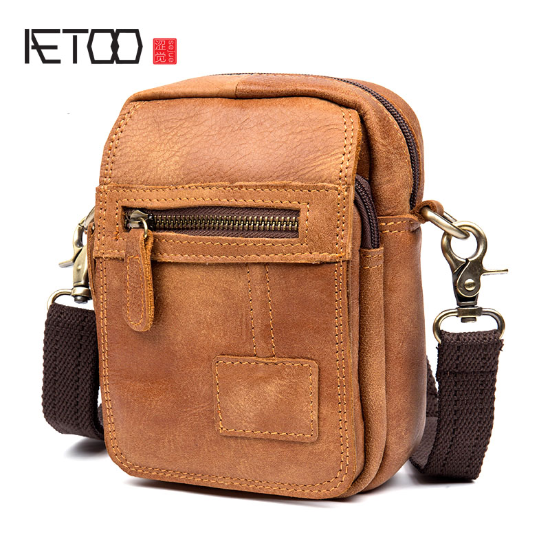 AETOO Retro first layer of leather shoulder bag casual male pockets leisure handmade leather Messenger bag leather pockets aetoo casual fashion shoulder bag leather new female package first layer of leather bags simple temperament leisure travel packa