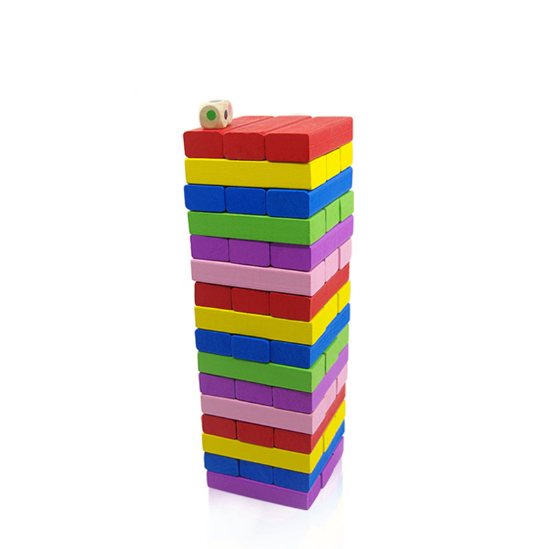 QUINEEOX 54pcs Wood Building Wooden Color Tower Blocks Toy Stacker Board Family Party Funny Extract Hardwood Building Blocks Toy in Wooden Blocks from Toys Hobbies