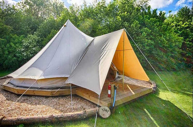 3m 4m 5m 6m Waterproof Cotton Canvas Bell Tent Luxury Glamping Tent for  Family