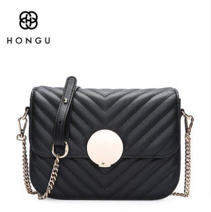HONGU New elegant leather handbag small square package diagonal shoulder bag female small bag leather chain bag Messenger bag # qiaobao 2018 new korean version of the first layer of women s leather packet messenger bag female shoulder diagonal cross bag