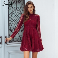 Simplee Lace red sexy short dress female Elegant long sleeve ladies women dress 2018 Autumn winter party dress festa robe femme