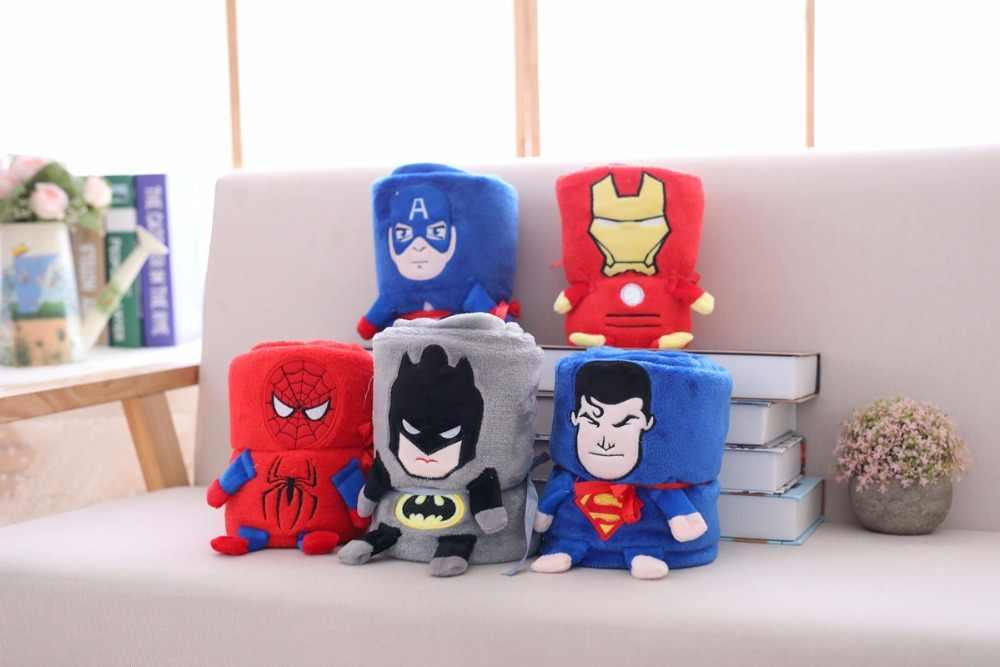 Super herói superman spiderman vingadores flanela cobertor de pelúcia lance para meninos na cama sofá de pelúcia brinquedo do bebê crianças amigos presente