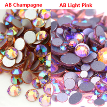 Mix Sizes 1440pcs ss3 - ss30 nail Crystal AB Champagne/ab Light Pink Non Hotfix Flatback Nail Rhinestones 3D Art Decoration