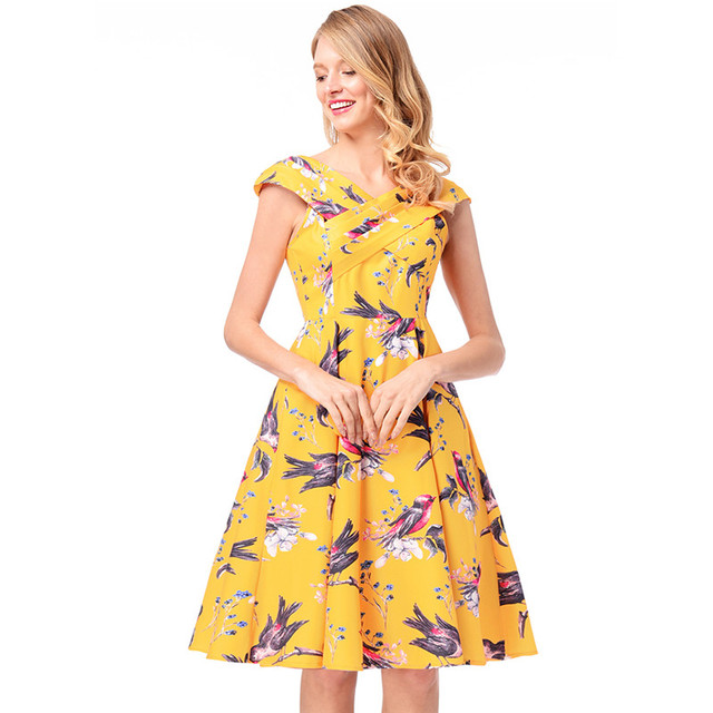 40 Sleeveless V Neck Hepburn Style Tutu Swing Dress A Line Bird Impressive Swing Dress Pattern