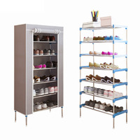 Modern Shoe Rack 7 Layers Non woven Dust Combination Shoes Cabinet Large Capacity Storage Shelf DIY Home Furniture