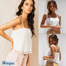 Summer Camisoles 2019 New Women Casual White Lace Up Backless Tassels Short Loose Size S-XL