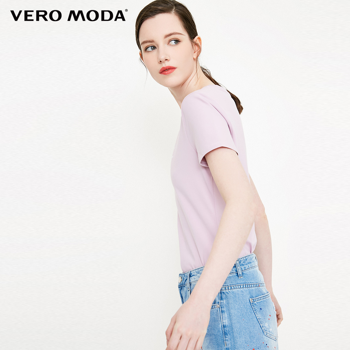 Vero Moda 2019 new letter pattern print slim stretch short-sleeved T-shirt |318301501