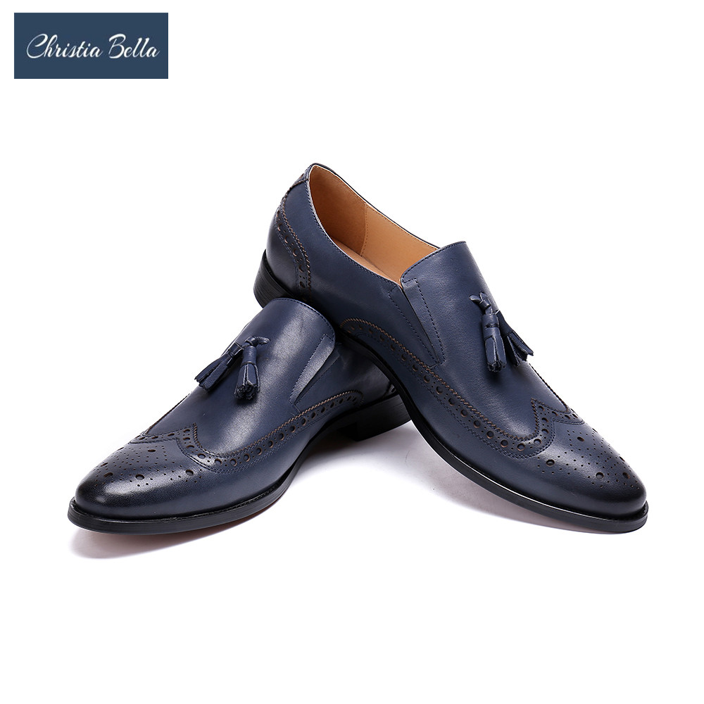 Christia Bella Genuine Cow Leather Men Shoes Blue Brogue Dress Shoes Slip On Pointed Toe Tassel Loafer Male Footwear Size 39-48 christia bella men pointed toe genuine leather slip on british formal dress shoes vogue summer slippers oxfords plus size 38 47