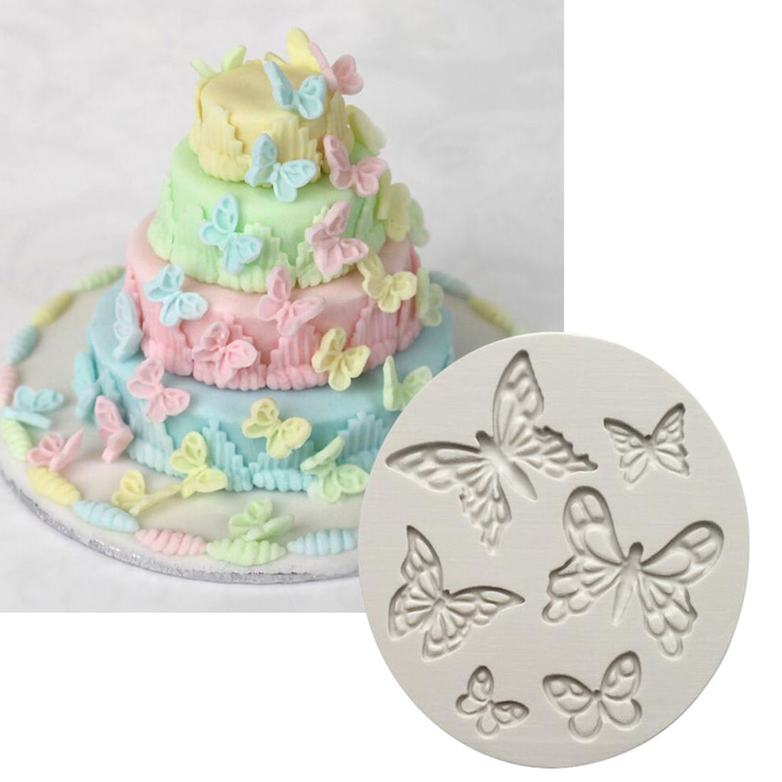 DIY Sugar craft Cake Butterfly Leaves Border Silicone Mold ...