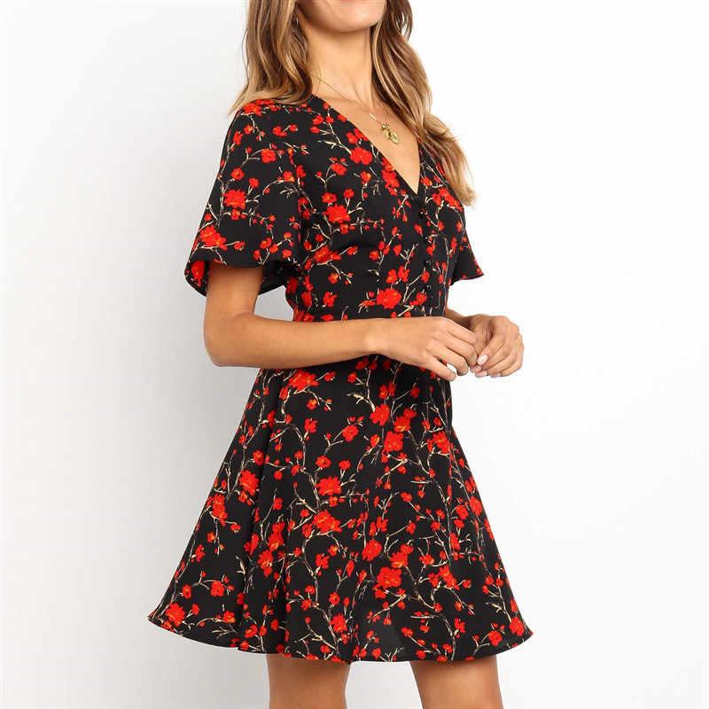 Платье женское летнее 2019 цветочное мини-платье с v-образным вырезом Короткие рукава-фонарики женские вечерние платья плюс размер Сарафан Летние платья