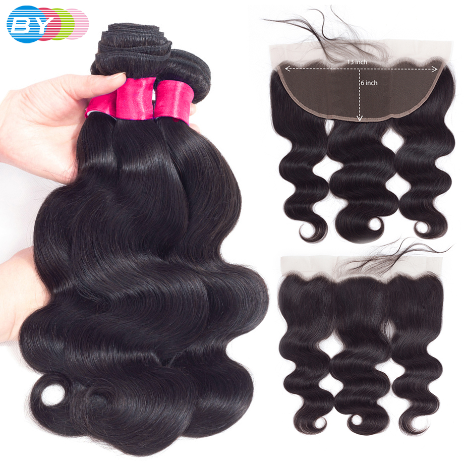 Bodywave Bundles With Frontal 4Pcs Brazilian Extension Capelli Veri 13x6 Ear To Ear Lace Frontal Closure With Bundles BY Hair