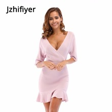цены Knit dress mujer hip dress plain one piece v-neck summer women ruffle hem mini dress vestidos robe femme